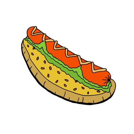 Hot dog with mustard. Hand drawn vector Illustration. Standard-Bild - 114826212