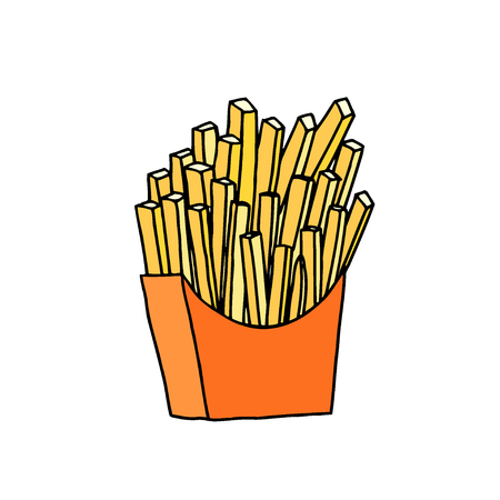 French fries in red paper pack. Hand drawn sketch. Vector illustration isolated on white background Çizim