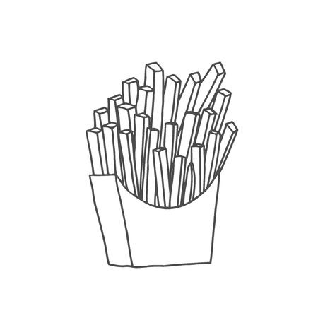 Vector illustration. Hand drawn doodle of french fries in a paper pack. Unhealthy food. Cartoon sketch. Decoration for menus, signboards, showcases, greeting cards, posters, wallpapers 向量圖像