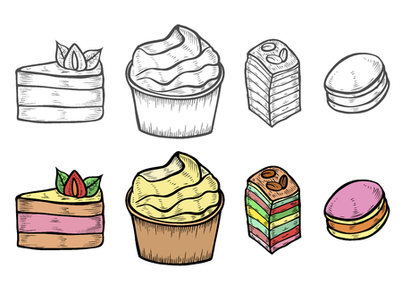Desserts and sweets color isolated on white background. Hand drawing illustration vector. Cheesecake, macaroons, meringues, muffin, waffles, donuts, croissant, cakes cookies eclair tiramisu Ilustrace