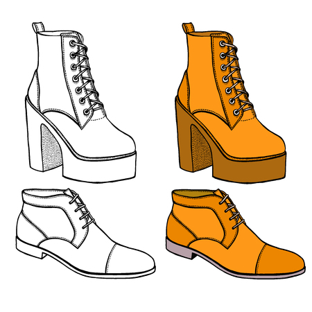 Set of Warm female half-boot on heel made of suede. Isolared on white
