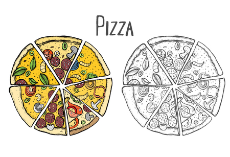 Colored Italian Pizza hand drawn vector illustration. Pizza slices in a circle. Packaging design template. Sketch illustration. Isolated on black