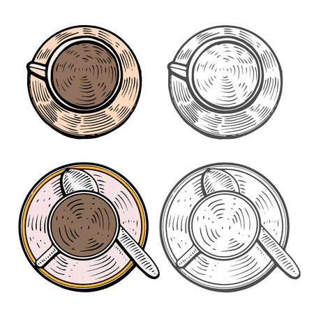hand drawn. Cups with hot coffee, tea or cocoa beverages. Colorful design template.