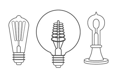 Ensemble de style de gravure dessin à la main de lampe ampoule Vintage