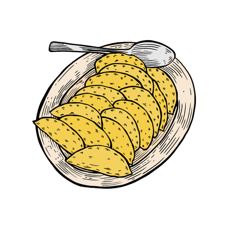 Colored vareniki on a large plate, in the old style of engraving, a traditional Ukrainian dish Vetores