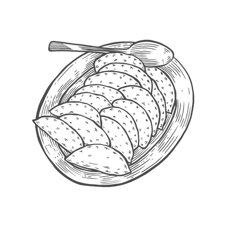 vareniki on a large plate, in the old style of engraving, a traditional Ukrainian dish