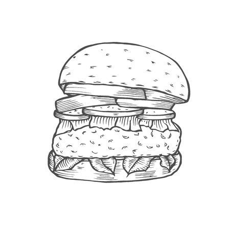 Hamburger. Fast food. Engraving vintage style. Classic Cheeseburger. Isolated on white background. Vector illustration.