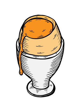 Tasty boiled egg icon, in sketch hand drawn style, for food and restaurant business design. Vector Vetores