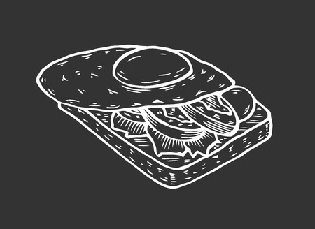 sandwich with eggs on bread toast. Vector ink hand drawn illustration. Menu template. Иллюстрация