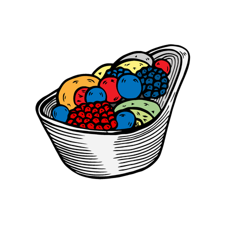 Vector hand drawn ice cream with berries and fruits dessert icon badge for design menu cafe, label and packaging. Retro style. Ilustração