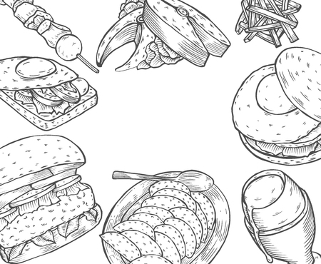 Gourmet Burgers and ingredients for burgers vector illustration. Fast food, junk food frame. American food. Elements for burgers restaurant menu design. Engraved style image.