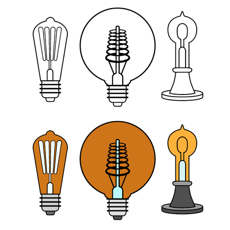Set of old light bulbs vintage, monochrome and colored illustration isolated on white background