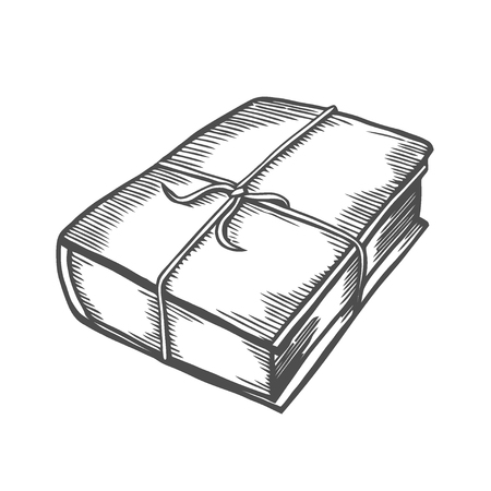 Hand drawn vector illustration of old book tied with an old rope.