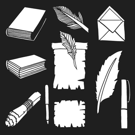 Hand Drawn Illustrations of Big Set Books and pen. Doodle vector illustration isolated on black