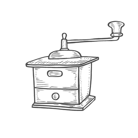 Vintage manual coffee grinder. Hand-drawn vector illustration of a sketch style. Isolated object. Vettoriali