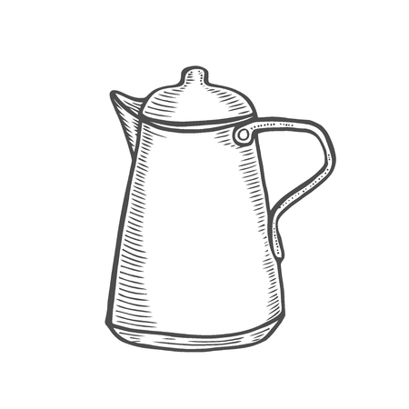 Vintage metallic kettle isolated on white in a graphic style. Drawing by hand. tea time. Vector Illustration stylized engraving.