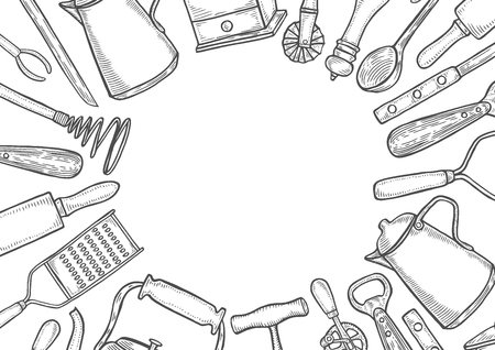 Background of Kitchen utensils set. Vector large collection hand drawn illustration with kitchen tools. Utensil and cooking. Kitchenware sketch. Retro engraving style