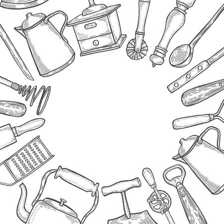Fond de jeu d'ustensiles de cuisine. Illustration vectorielle grande collection dessinés à la main avec des ustensiles de cuisine. Ustensile et cuisine. Croquis d'ustensiles de cuisine. Style de gravure rétro