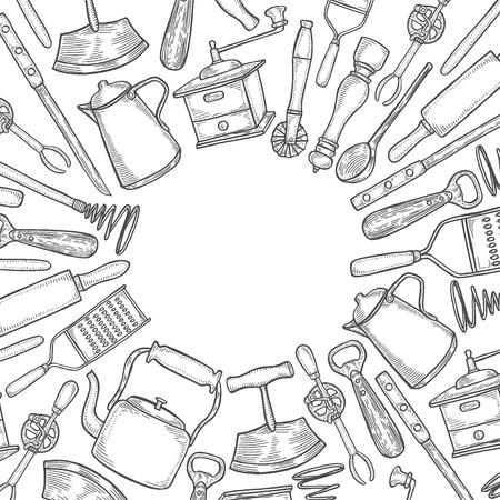 Fond de jeu d'ustensiles de cuisine. Illustration vectorielle grande collection dessinée à la main avec des ustensiles de cuisine. Ustensile et cuisine. Croquis d'ustensiles de cuisine. Style de gravure rétro
