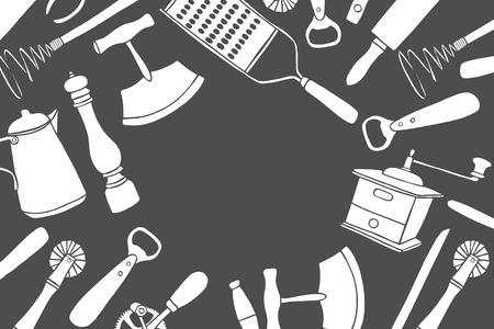 Fond de jeu d'ustensiles de cuisine. Illustration vectorielle grande collection dessinée à la main avec des ustensiles de cuisine. Ustensile et cuisine. Croquis d'ustensiles de cuisine. Style de bande dessinée rétro