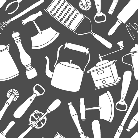Set of old kitchen utensils in the Cartoon style, Background black and white seamless