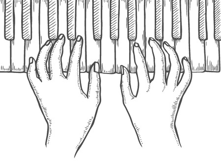 Hands and piano keys engraving vector illustration. Black and white hand drawn image. Scratch board style imitation.