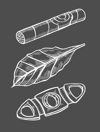 Zigarren und Guillotine, Tabakblätter. Räucherset. Skizzengravurstil. Auf schwarzem Hintergrund isoliert