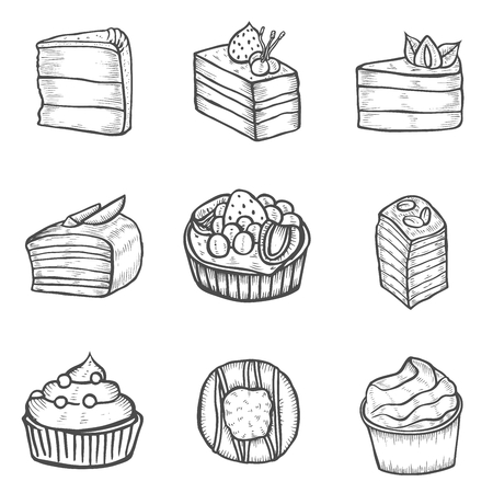 Cake Dessert and sweet isolated on white background. Hand drawing illustration .