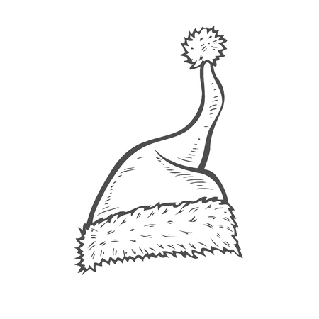 Hand drawn Sketch of Santa Hat. Doodle ink santa hat or sleeping cap Stock Photo