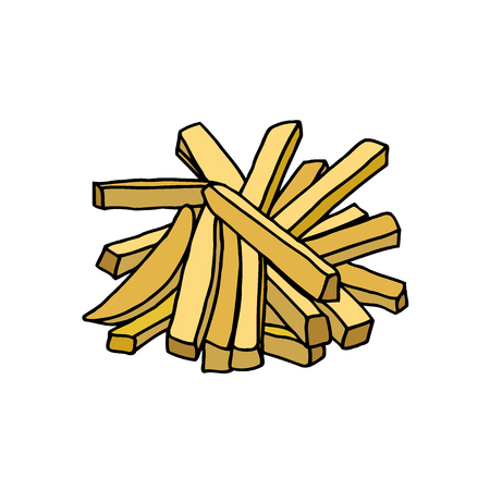 French fries. Hand drawn sketch.  illustration isolated on white background Stok Fotoğraf