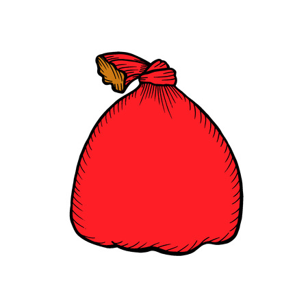 Santa Claus red bag isolated on white. Big Christmas sack Winter holidays concept. Container for xmas gifts and presents.  illustration in cartoon style flat design