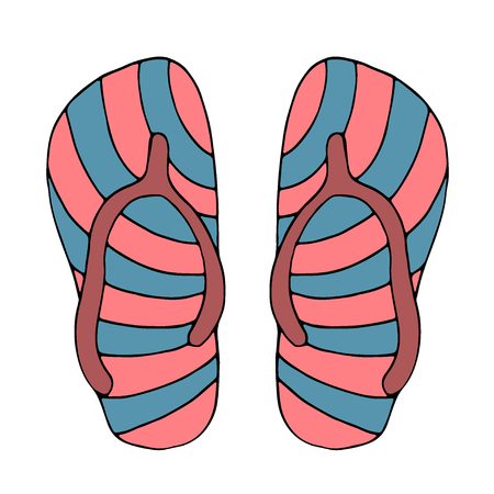Colorful flip flops, summer time vacation attribute, shoes, slippers, sketch style. isolated on white background. Hand drawn