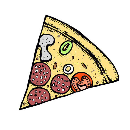 Pizza hand drawn vector illustration. Pizza slices in pieces of corners. Design template.