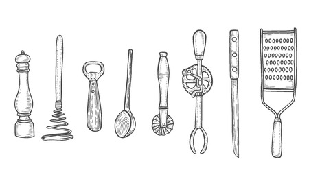 Sketch Set of kitchen utensils, isolated on white vector illustration