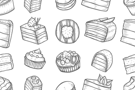 Seamless Sweets and bakery set. Hand drawing on a white background. Vintage engraving art illustration. Vector Food and restaurant design. For signs of confectionery or bakery