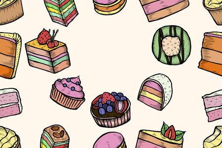 Seamless Sweets and bakery set. Hand drawing background. Vintage engraving art illustration. Vector Food and restaurant design. For signs of confectionery or bakery, cafe or restaurant menu. Illustration