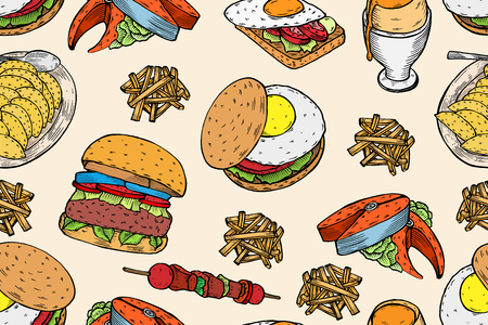 Colored Gourmet Burgers and ingredients for burgers vector illustration. Fast food, junk food frame. American food. Elements for burgers restaurant menu design. Engraved style image.