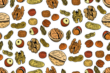 Vector seamless pattern with nuts and seeds. Pistachios, brasil nuts, pecan, hazelnut, nutmeg, cashew background. Hand drawn elements in sketch style.
