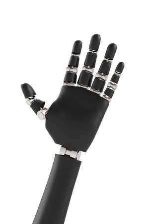 3d render Rubber Robot hand with chrome joints and bones