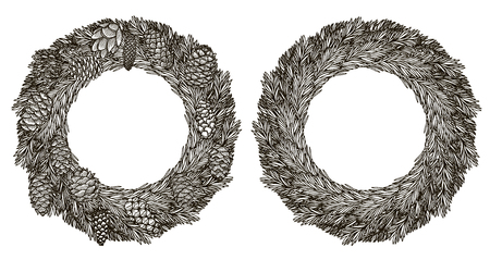 Two Christmas wreaths and bow. Vector illustration.
