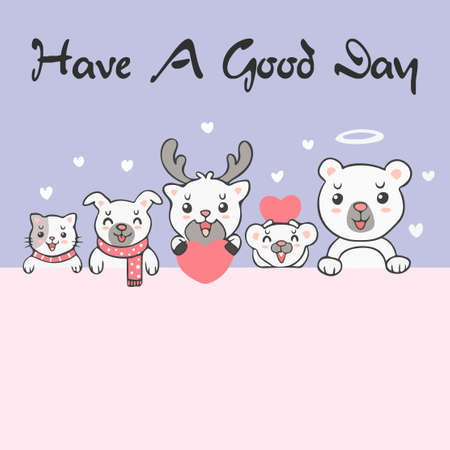 Group of cute kawaii animals with say have a good day background wallpaper cover banner