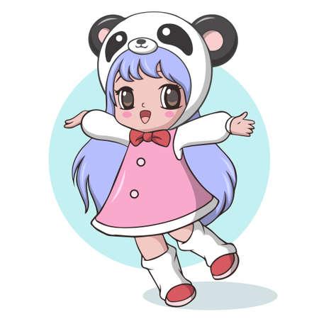 Jolie petite fille habillée en panda