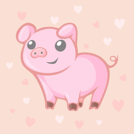 Cute kawaii little pig with hearts Illustration