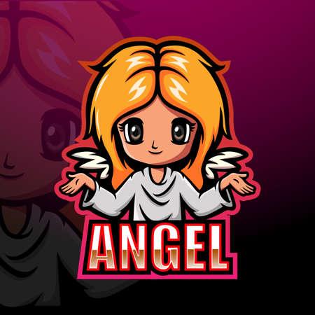 Angel girl esport mascot logo design Vettoriali