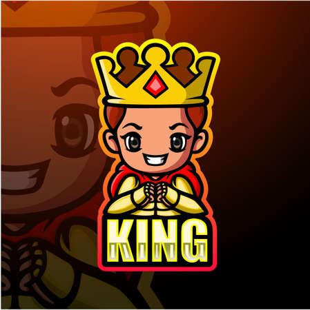 King mascot esport logo design Çizim