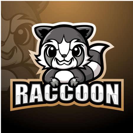 Raccoon mascot esport logo design