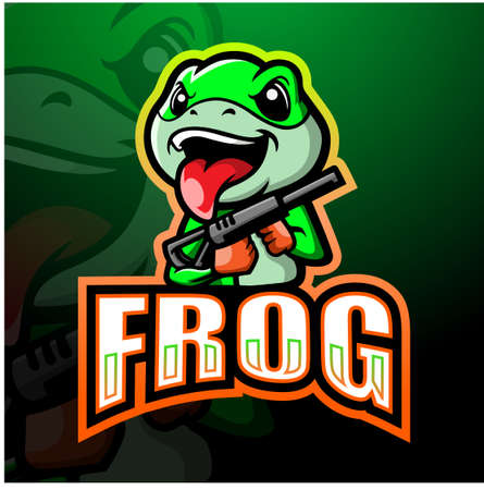 Shooter frog mascot esport logo design