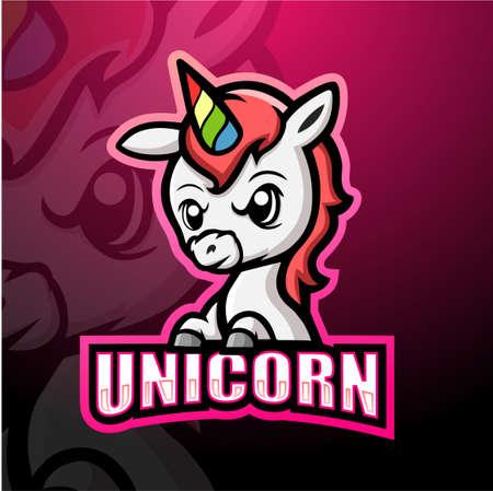 Unicorn mascot esport logo design