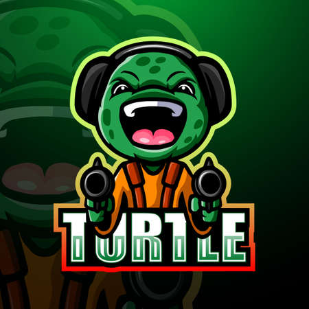 Shooter turtle mascot esport logo design