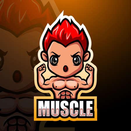 Muscle boy mascot esport logo design Çizim